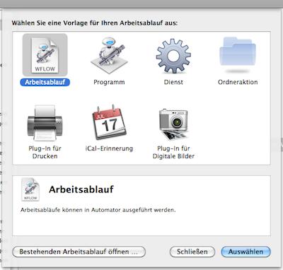 Auswahlmöglichkeiten beim Start von Automator