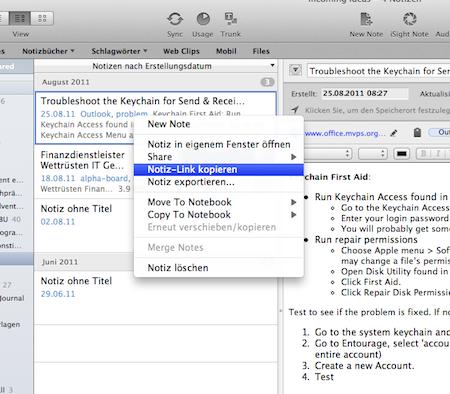 Screenshot: Link einer Notiz in Evernote erzeugen
