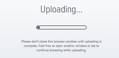 droplr: Datei-Upload läuft