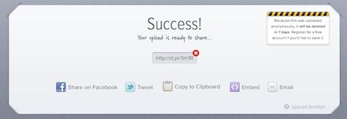droplr: Datei-Upload fertig!