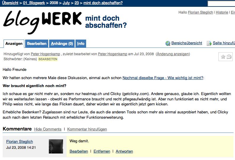 Klassisches Wiki plus Diskussionsforum: Confluence.