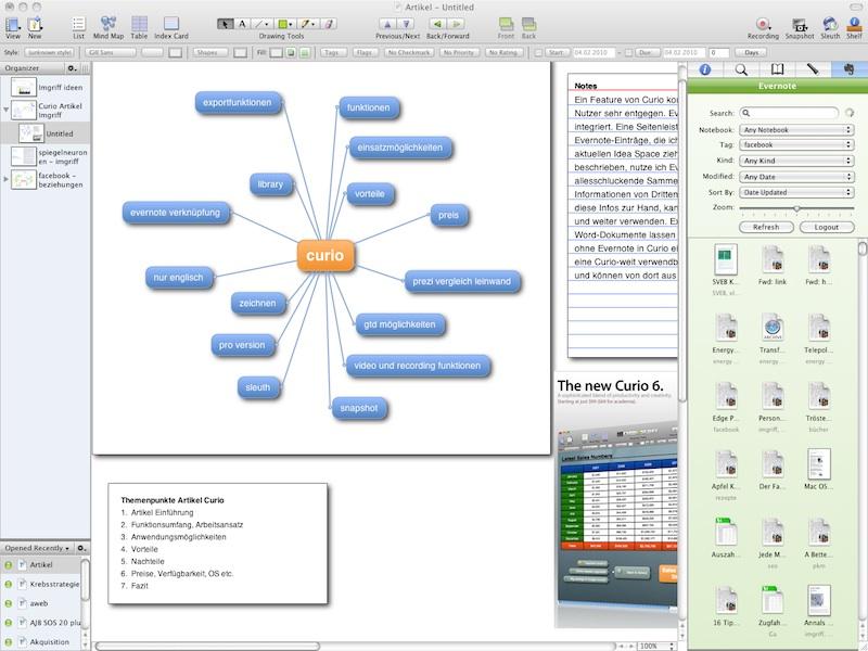 Das Project Center (links) und die Evernote Seitenleiste (rechts)
