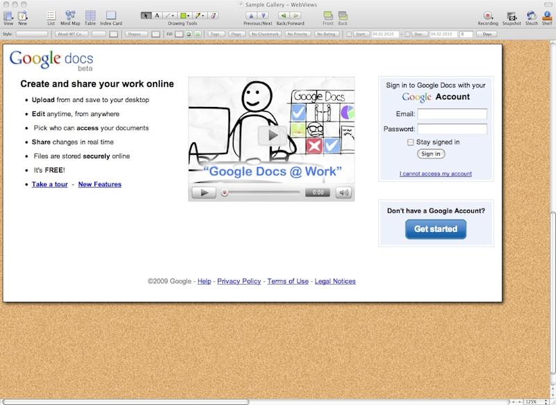 Auch Google Docs lassen sich einbinden und direkt aus Curio bearbeiten.