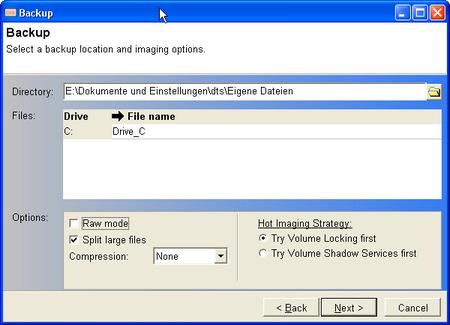 Nach der Auswahl der gewünschten Partition erscheint bei DriveImage XML ein Dialog, der durch das Backup führt.