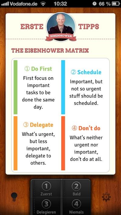 Die Eisenhower-App erklärt das Eisenhowern