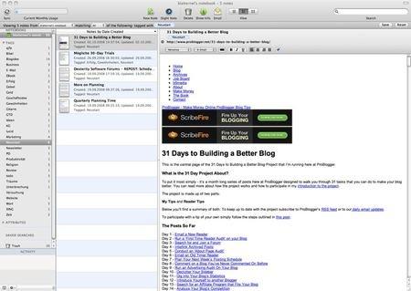 Evernote als Mac-Anwendung (anklicken für Großansicht)