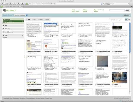 Evernote: Die Web-Anwendung (anklicken für vergrößerte Ansicht)
