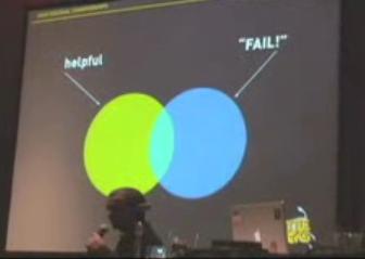 Anil Dash zeigt in einem Vortrag die - geringe - Schnittmenge zwischen der Verwendung von Fail und konstruktiver Kritik.