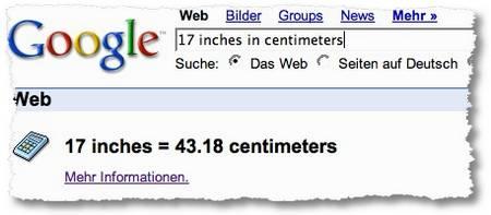 Google Umrechnung inches