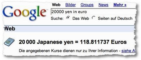 Google Umrechnung Yen