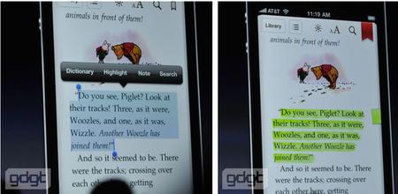 Markieren einer Textstelle und Ablegen einer Notiz dazu in iBooks auf dem iPhone (Bilder: gdgt.com)