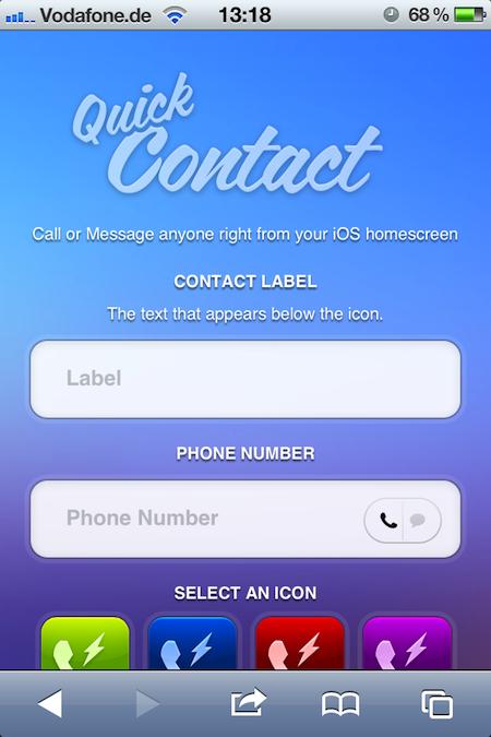 Jeff Brodericks QuickContact schafft Shortcut-Icons für Anrufe/SMS an bestimmte Nummern