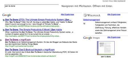 Keyboardr: Meta-Suchmaschine mit schicker Ergebnisseite (Anklicken für größere Ansicht)