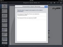 Keynote meldet Probleme auf dem iPad