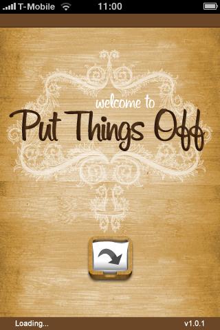 Der Startbildschirm von Put Things Off (anklicken für größeres Bild)