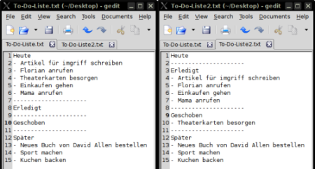 To-Do-Liste am Morgen (links), To-Do-Liste am Abend (rechts)