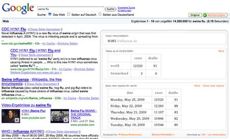 Die Ergebnisse von Wolfram Alpha werden in die Google-Treffer integriert (anklicken für größere Ansicht)