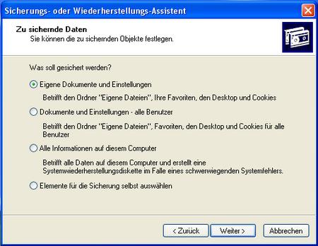 Sicherungs- und Wiederherstellungs-Assistent unter Windows XP