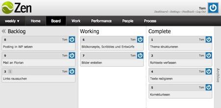 Screenshot von ZEN, einer webbasierten Kanban-Anwendung